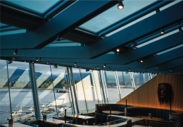 The terrace at our Coal Harbour restaurant offers a spectacular view of the Pacific Ocean.
