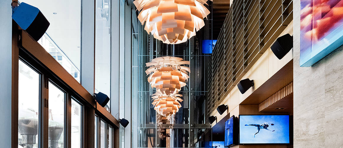 Lighting above the dining room at Cactus Club Cafe First Canadian Place