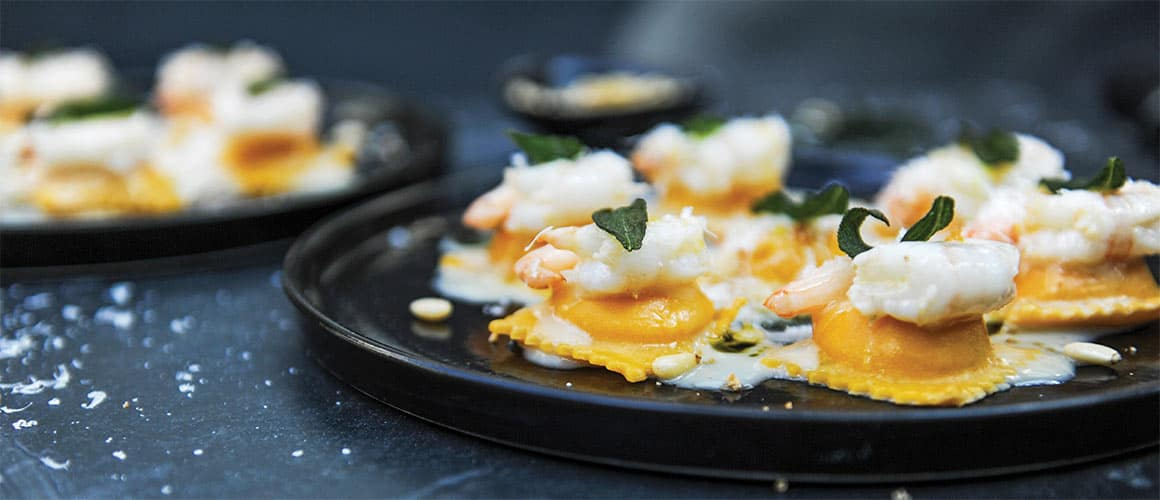 Rob Feenie's signature Butternut Squash and Prawn Ravioli