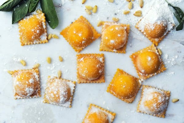 Butternut squash and mascarpone ravioli.