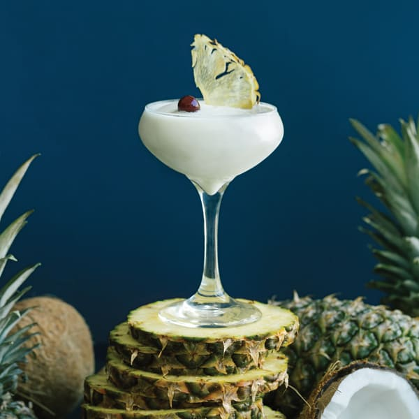 Bacardi white rum, maui gold pineapple, toasted coconut, amarena cherry, pineapple chip.