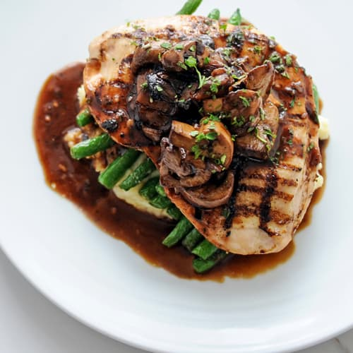 shiitake, portabello, button and crimini mushroom demi-glace, buttered mashed potatoes, green beans.