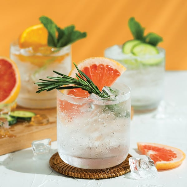 Ketel One botanical vodka soda with: grapefruit and rose, cucumber and mint or peach and orange blossom.