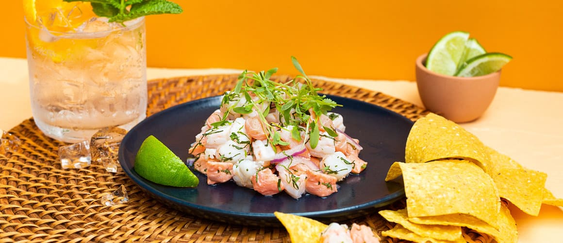 ocean wise™ lois lake steelhead, sustainably harvested prawns, red onions, thai basil, mint, cilantro, nuoc cham