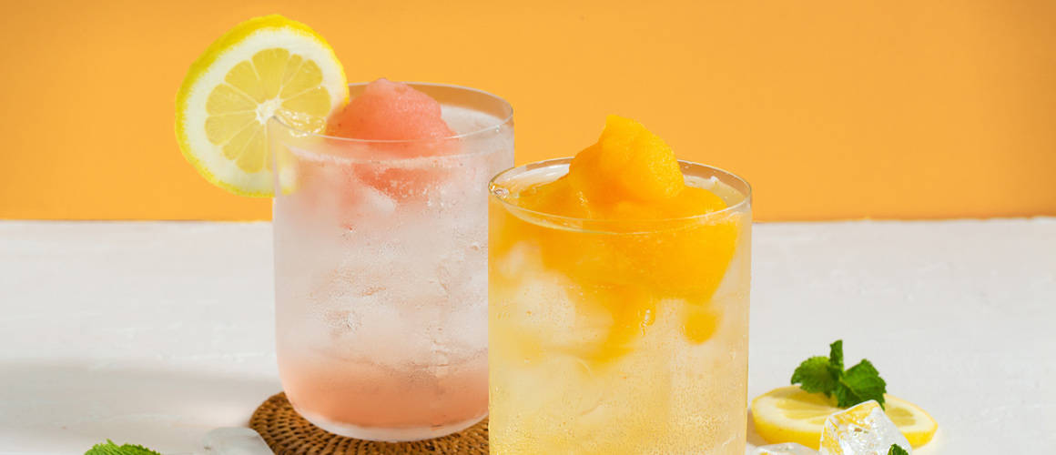 Smirnoff vodka, soda, and Frosé or Bellini slush.
