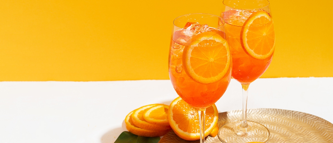 prosecco, aperol, soda and orange.