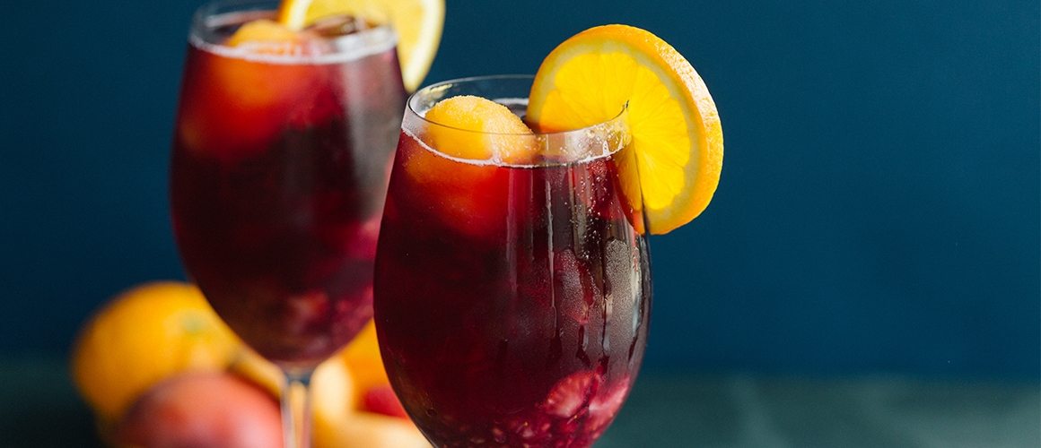 Signature Sangria: zinfandel, apricot brandy, fresh strawberries, raspberries, sprite and bellini