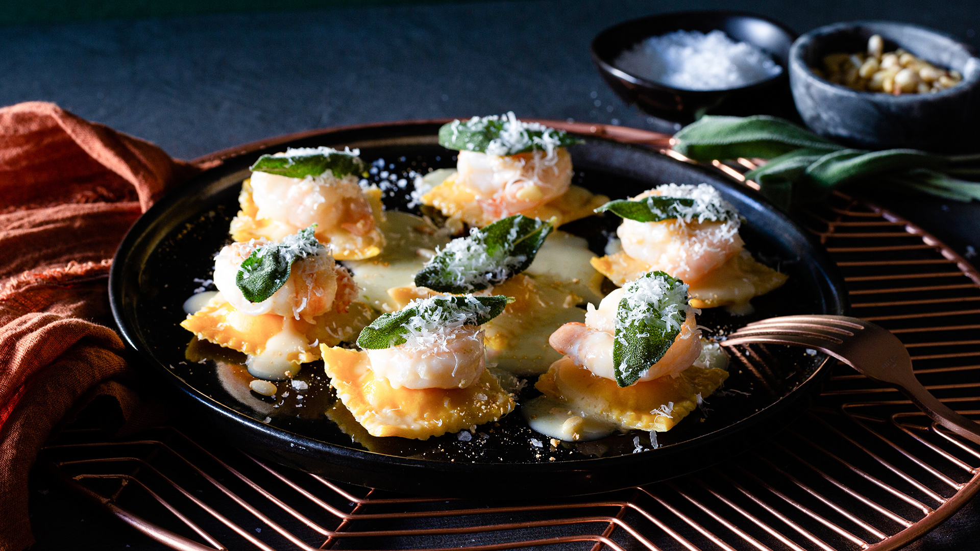 Butternut Squash Ravioli With Prawns | Cactus Club Cafe